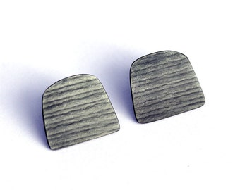 Stripy oxidised silver studs