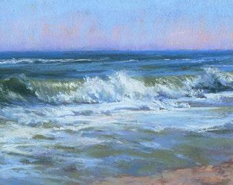 Pastel wave painting, Original seascape, Unframed art, Coastal painting, Beach decor, Impressionistic art, Lana Ballot, Long Island waves