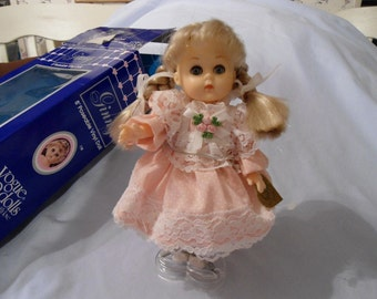 "1984 Vogue Baby Doll Ginny 8"" Blonde Hair Pink and Lace Party Dress, Has Stand in New Condition"
