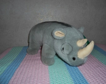 Vintage Boys and Girls Large 16 inch Fiesta Rhinoceros Soft, Plush Rhino Stuffed Animal Toy in Excellent Condition   ON SALE !