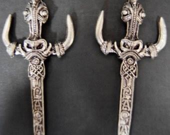 Pagan Blade Pewter Dangle Earrings (PAIR)