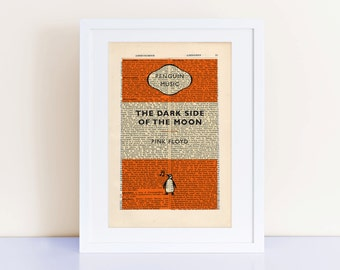 Pink Floyd The Dark Side of the Moon on an antique page, home decor poster, Pink Floyd