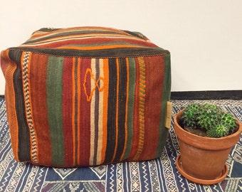 SPRING SALE Handmade unique kilim Moroccan pouf,poef,osmane,puff,ottoman,foot stool,floorpillow