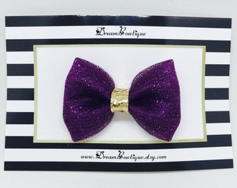 Purple Glitter Tulle Hair Bow, Gold Hair Bow, Purple Glitter Hair Bow, Gold Glitter Hair Bow, Purple Hair Bow, Gold Tulle Hair Bow