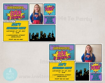 Comic Invitation / Superhero Invitation / Supergirl Invitation