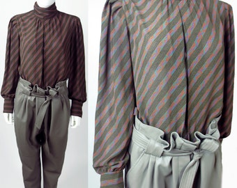 80s Regina Porter Parisian chic diagonal striped abstract printed secretary blouse