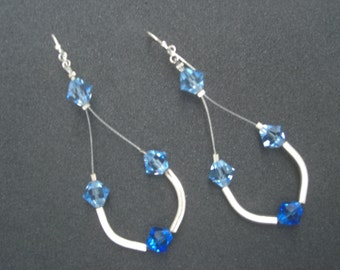 Beautiful Long  Earrings in Blue Swarovski Crystal and Sterling Silver (925)