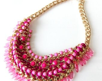 Pink Beaded Collar Style Statement Necklace -UK SELLER