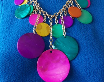 Multi-Coloured Shell Disc Statement Necklace -UK SELLER