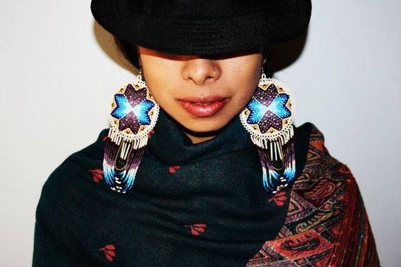 Native American Earrings, Native American Quill Earrings, Native American Beaded Earrings, Seed Bead Earrings, Tribal Earrings, Statement