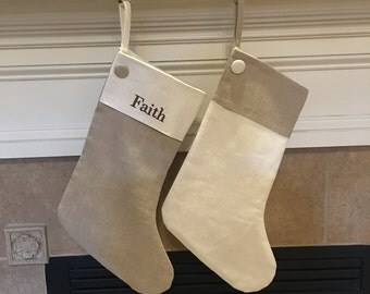 Linen Christmas Stocking - Personalized Linen Christmas Stocking- Neutral Christmas Stocking