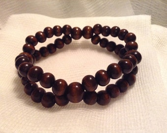 Double Strand Dark Brown Mixed Beads Wood Stretch Bracelet