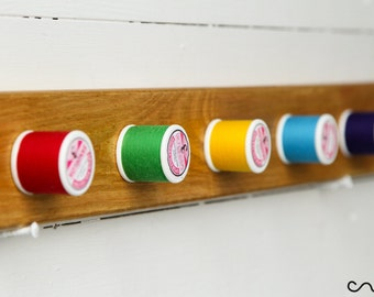 Handmade Solid Wood Waxed Rainbow Thread-Peg Wall Mounted Coat Rack 5 Hooks