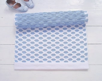 White and Blue Nursery Rug, Serenity and White Baby Boy Nursery Rug, Handmade Rug, Extra Soft and Thick, Woven on the Loom, Ready to Ship
