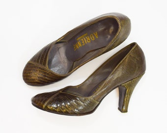 "40s  Size 6 Brown Lizard Pumps | Taupe Lizard | Round Toe | ""Adrienne"""