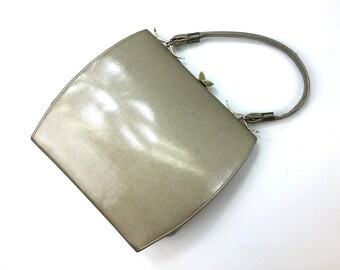 60s Beige Patent Leather Handbag