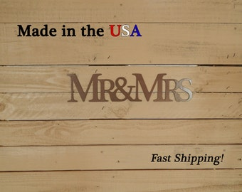 Mr and Mrs, Wedding Decor, Wedding Gift, Metal Art, Bathroom Decor, Bedroom Decor, Metal Sign, Sign, Indoor, His and Hers, One piece, S1053