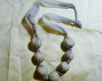 Hand Dyed Silk Chiffon with Hand Rolled Clay Beads
