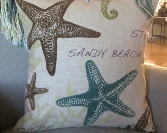Sandy Beach,18x18 Pillow Covers, Ocean Dweller Pillow, Sea Creatures Pillow, Star Fish Cushion, Crab Pillow, Fish Pillow, Sea Horse Pillow,
