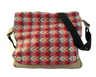 Mato Eco-friendly Laptop Cross Body Satchel Shoulder Messenger Earthy Hemp Bag Brown