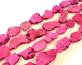 Flat Magnesite Chunky Beads in Bright Pink  - Nugget Dyed Beads for wire bangle Tassel bracelet jewelry makers