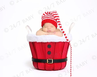 Digital Studio Backdrop Christmas Holiday Santa Bucket Basket Scene Newborn Baby Photography
