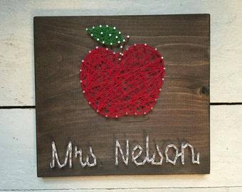 Teacher's Gift, Custom teacher string art, apple string art, teacher appreciation, end of year gift
