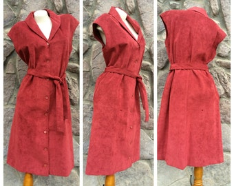 Vintage 70s Ultrasuede Samuel Roberts by Peter Hatsi Androu A Line Dress / Rust Red Brown / Women's Size 14