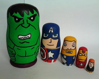 Marvel/DC Superhero Russian/Nesting Doll set of 5. Fathers day gift, mens gift birthday Gift. Boys gift wooden toy/keepsake/ornament