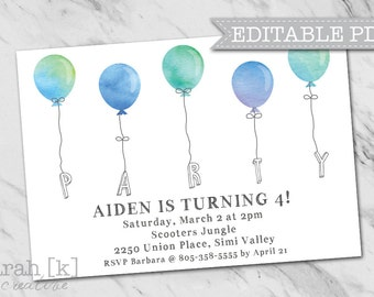 Watercolor balloons party invitation, Birthday invitation, Boy invitation, Watercolor balloons, Blue balloons, Editable invitation