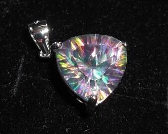 SUMMER SALE Genuine Sterling silver Mystic Topaz triangle trillium pendant 5.5ct