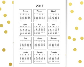 2017 mini calendar cards - instant download - commercial use allowed -printable bullet journal calendar 2017 - US letter size + DIN A4