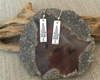 Redwood Tree Fine Silver Earrings