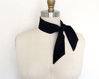 "Silk neck scarf 33""x 2"" Black bandana scarf. Womens scarf tie. Ladies knot scarf. Unisex. Black silk ascot. Black choker scarf. Headband."