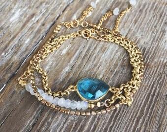 Beaded bracelet set - gemstone bracelet - dainty bracelet - chalcedony bracelet - stacking bracelet - boho bracelet set