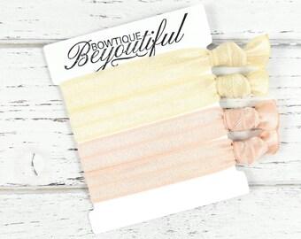 Blonde Hair Ties - Hair Tie Set - Champagn Hair Ties - White Hair Ties - Elastic Hair Ties - Creaseless Hair Ties -Hair Tie Bracelets