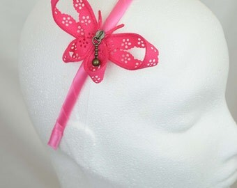 Fuchsia zipper butterfly hairband - zip hair accessory handcrafted by habercraftey - satin wrapped headband