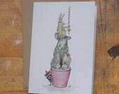 Hand Drawn Birthday Card: Racoon, Rhino and a Rabbit