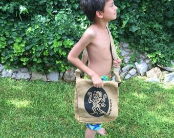 Guatemalan recycled coffee sack messenger