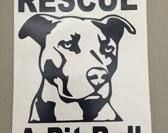 Pit Bull Rescue Sticker - Decal Vinyl Stickers Animal Rescue