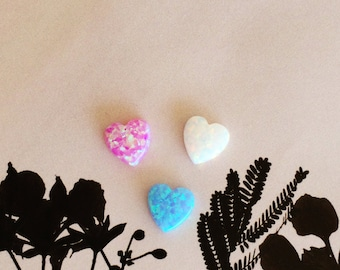 Blue Opal Heart • White Opal Heart • Pink Opal Heart • Green Heart Opal • Red Heart Opal • Purple Heart Opal • Size 10x10mm • 8x10mm
