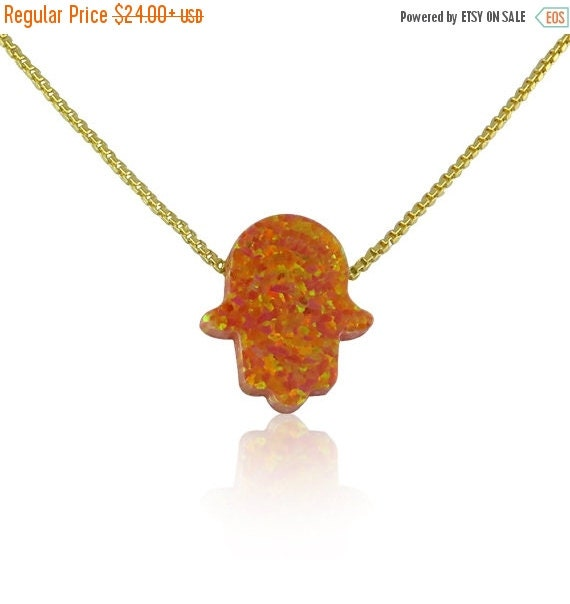 opal hamsa necklace orange gold plated sterling silver NOW ON SALE