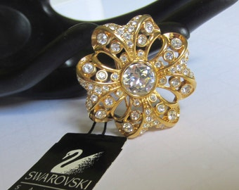Exceptional SWAROVSKI swan signed  MALTESE Cross pin/brooch with original hang tag ~STUNNING, stylized, collectible vintage costume