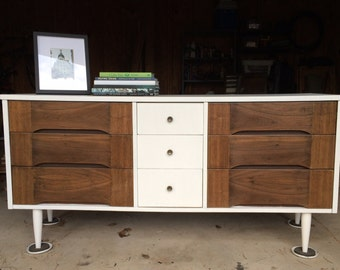 SOLD - MidCentury Pure White Nine Drawer Dresser / Chalk Paint / Annie Sloan / Changing Table / Buffet