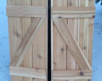 Z-Shaped Shutter  - Board and Batten Cedar Shutter - Choose your own Stain Color