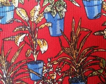 Vintage silk neck tie with plants