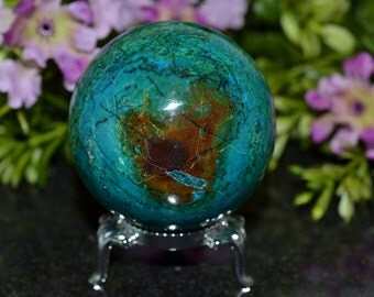 Chrysocolla Sphere, Chrysocolla Sphere, 52 MM Natural Chrysocolla Sphere, Chrysocolla Sphere