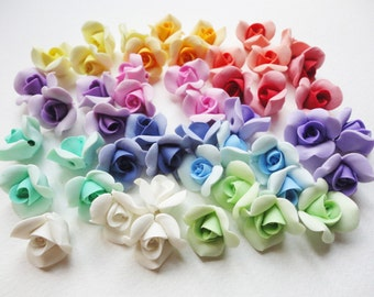 5 ROSE BEADS, cold porcelain rose, clay rose bead, flower bead, handmade flower beads, jewelry rose beads, handmade rose beads, jewelry bead