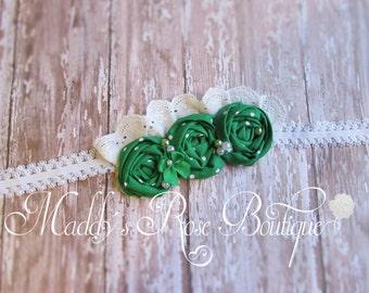 St. Patrick's Day headband, , Shabby Chic, handmade rosette headband, Photo Prop, Baby headband, green headband, hand made rosettes, Irish