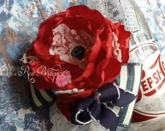 4th of July, Patriotic headband, satin singed flower, Vintage Style, vintage americana, memorial day, Retro headband, Seaside headband